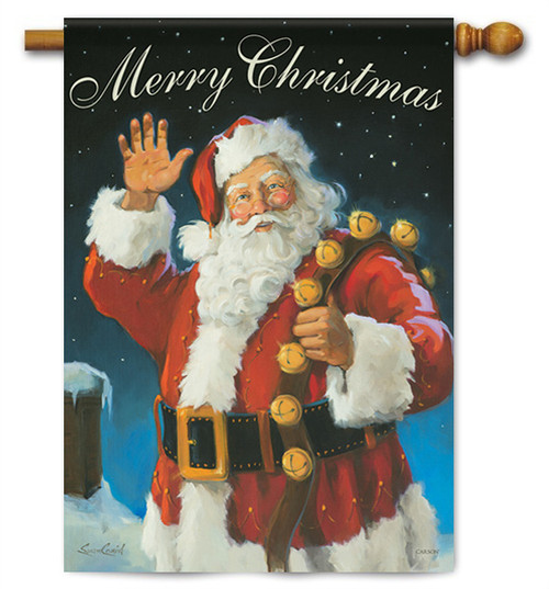 "Merry Christmas Santa House Flag - 28"" x 40"" - 2 Sided Message"