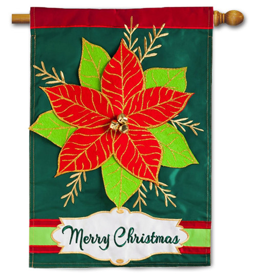 "Merry Christmas Poinsettia Applique House Flag - 28"" x 44"" - 2 Sided Message"