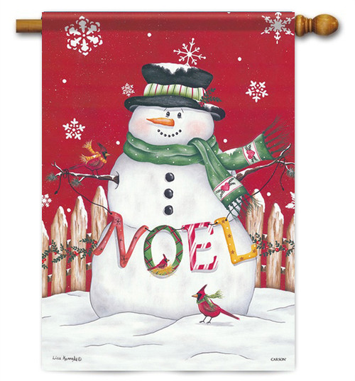 "Noel Snowman House Flag - 28"" x 40"" - 2 Sided Message"