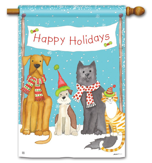 "Pet Holiday Christmas House Flag - 28"" x 40"" BreezeArt"