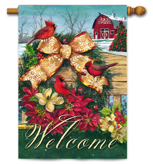 "Cardinals Wreath on Fence House Flag - 29"" x 43"" - 2 Sided Message"