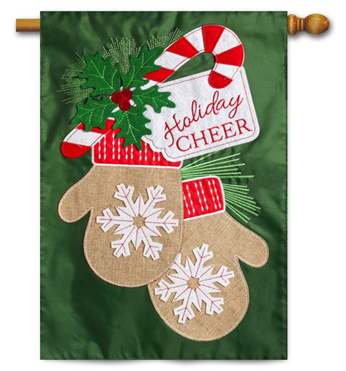 "Holiday Cheers Mitten Applique House Flag - 28"" x 44"" - 2 Sided Message"