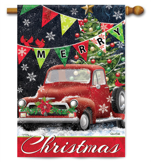 "Red Truck Christmas House Flag - 28"" x 40"" - 2 Sided Message"