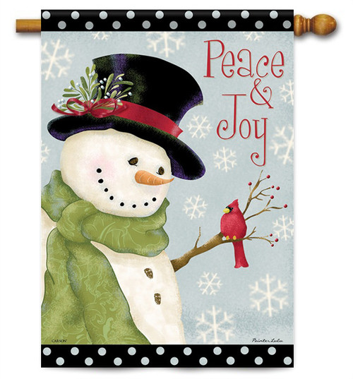 "Peace & Joy Snowman House Flag - 28"" x 40"" - 2 Sided Message"