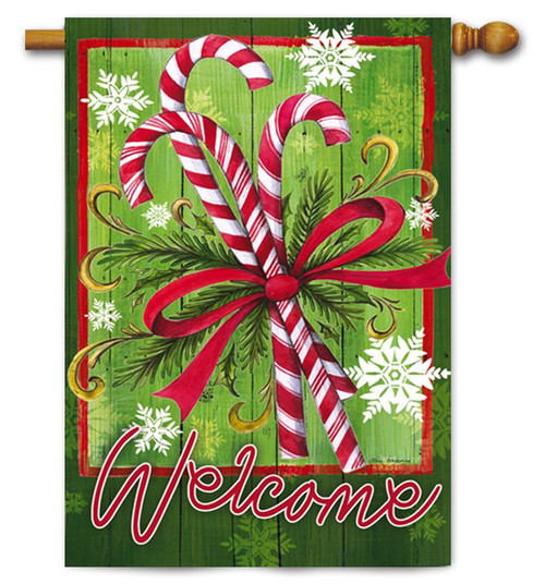"Candy Canes and Ribbon House Flag - 29"" x 43"" - 2 Sided Message"