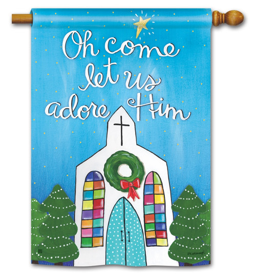"Adore Him Christmas House Flag - 28"" x 40"" BreezeArt"