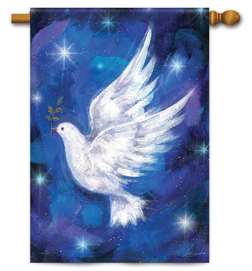 "Christmas Dove House Flag - 28"" x 40"""