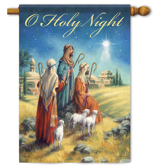 "Holy Night Nativity House Flag - 28"" x 40"" - 2 Sided Message - Flag Trends"