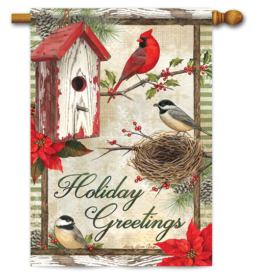 "Rustic Garden Holiday House Flag - 28"" x 40"" - 2 Sided Message"