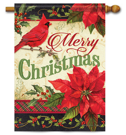 "Merry Christmas Greeting House Flag - 28"" x 40"" - 2 Sided Message"