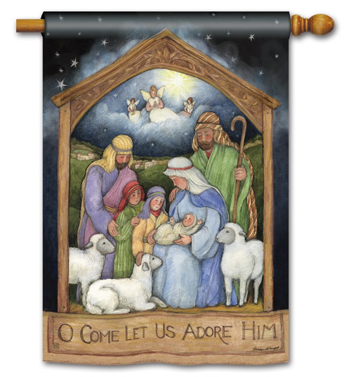 "Holy Family Christmas House Flag - 28"" x 40"" BreezeArt"