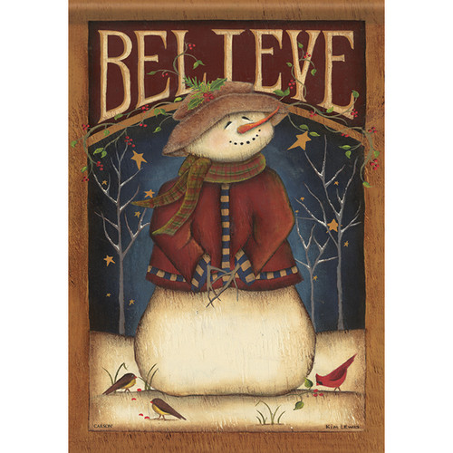 "Believe Snowman House Flag - 28"" x 40"" - 2 Sided Message"