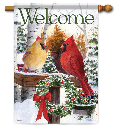 "Christmas Cardinals House Flag - 28"" x 40"" - 2 Sided Message"