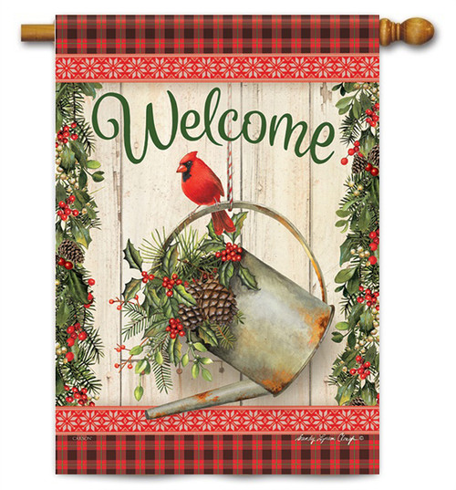 "Holiday Watering Can House Flag - 28"" x 40"" - 2 Sided Message"