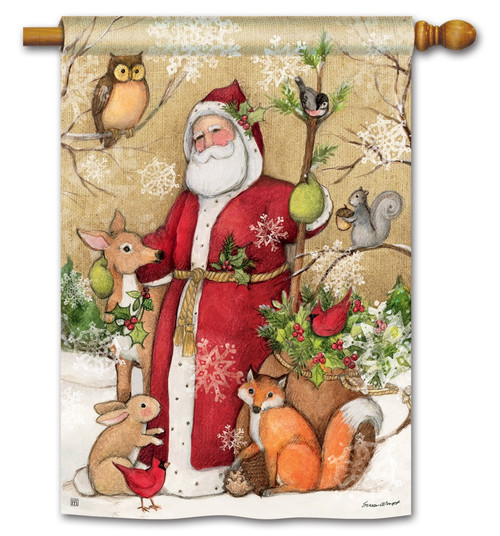 "Woodland Santa Christmas House Flag - 28"" x 40"" BreezeArt"
