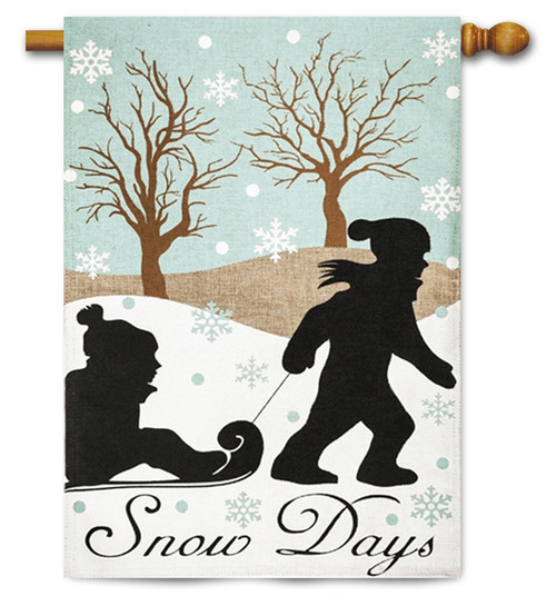"Snow Day Applique House Flag - 28"" x 44"" - 2 Sided Message"