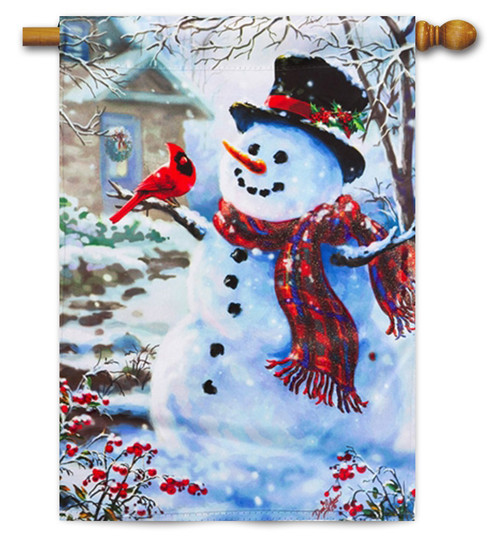 "Snowman and Feathered Friend House Flag - 29"" x 43"""