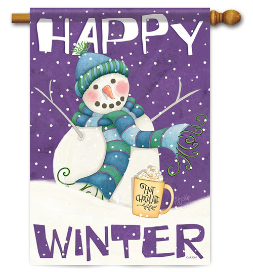 "Happy Winter House Flag - 28"" x 40"" - 2 Sided Message"