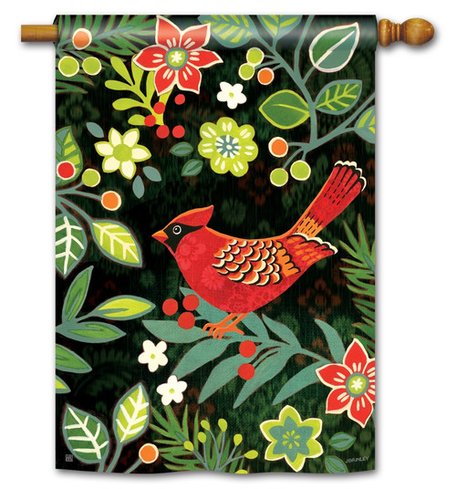 "Folk Cardinal House Flag - 28"" x 40"" BreezeArt"