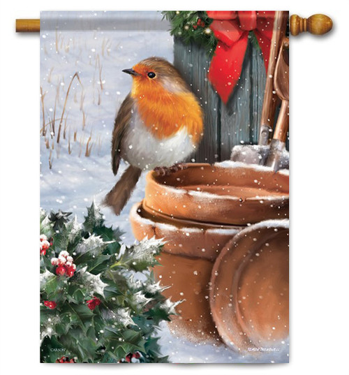 "Rosy Robin House Flag - 28"" x 40"" - Flag Trends"