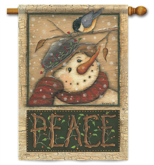 "Snowman and Chickadee House Flag - 28"" x 40"" - 2 Sided Message"
