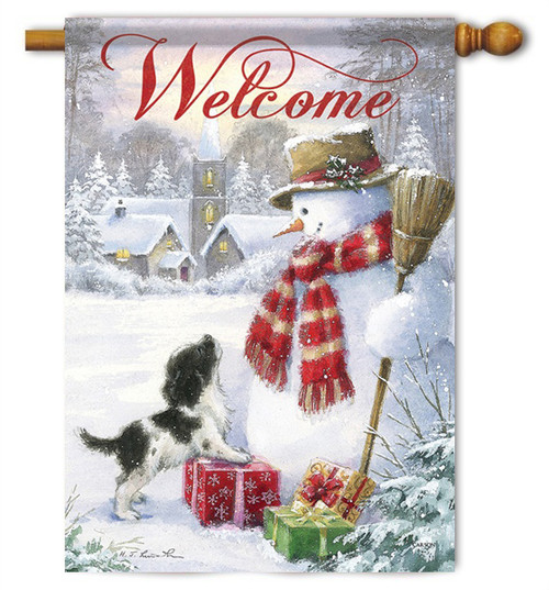 "Snowman & Puppy House Flag - 28"" x 40"" - 2 Sided Message"