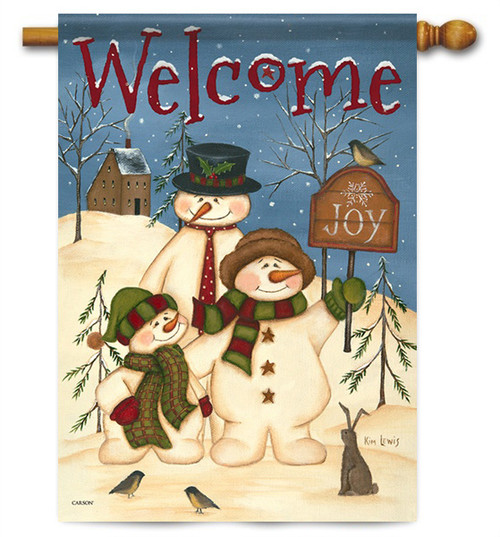 "Snowman Family House Flag - 28"" x 40"" - 2 Sided Message"