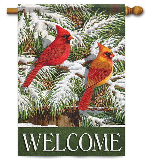 "Snowy Cardinals House Flag - 28"" x 40"" - 2 Sided Message"