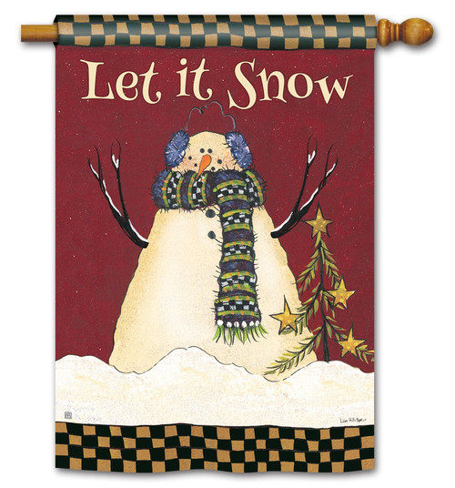 "Primitive Snowman House Flag - 28"" x 40"" BreezeArt"
