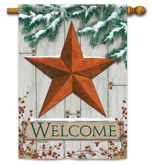 "Winter Barn Star House Flag - 28"" x 40"" - 2 Sided Message"