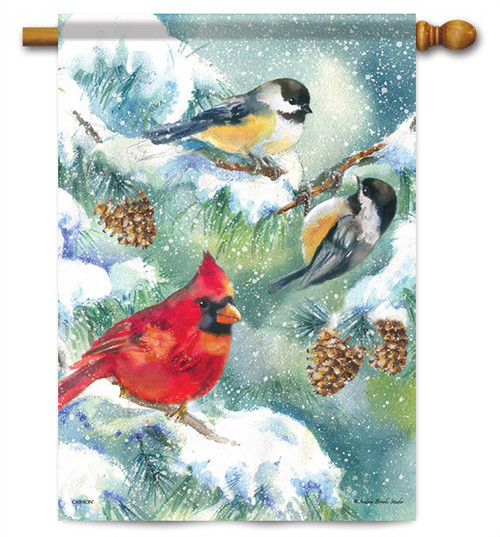"Winter Bird Trio House Flag - 28"" x 40"" - Flag Trends"