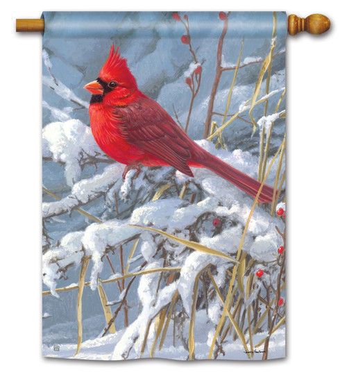 "Cardinal in Snow House Flag - 28"" x 40"" BreezeArt"