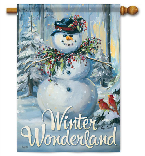 "Winter Wonderland House Flag - 28"" x 40"" - 2 Sided Message"