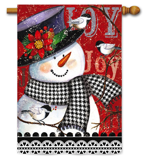 "Joyful Smiling Snowman House Flag - 29"" x 43"" - 2 Sided Message"