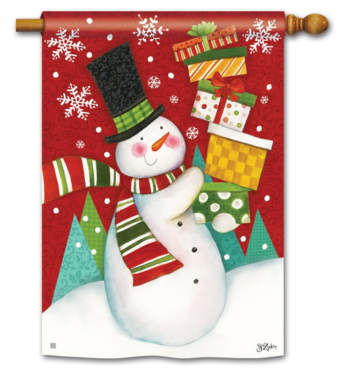 "Happy Snowman House Flag - 28"" x 40"" BreezeArt"
