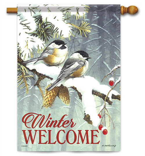 "Chickadee Pair House Flag - 28"" x 40"" - 2 Sided Message"