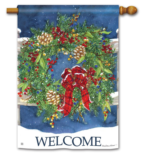 "Winter Wreath House Flag - 28"" x 40"" BreezeArt - 2 Sided Message"
