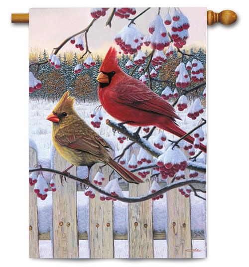 "Songbird Winter Cardinal House Flag - 29"" x 43"""