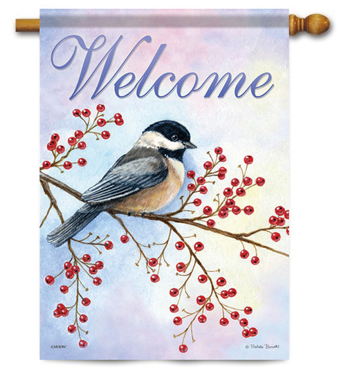"Red Berries Chickadee House Flag - 28"" x 40"" - 2 Sided Message"
