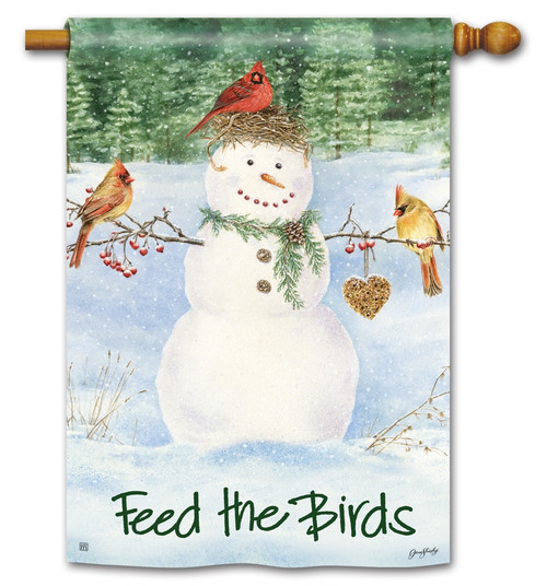 "Snowman Birdfeeder House Flag - 28"" x 40"" BreezeArt - 2 Sided Message"