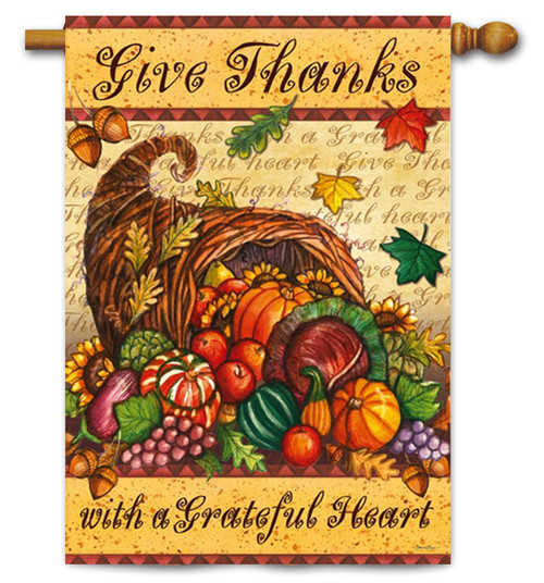 "Grateful Heart Thanksgiving House Flag -  29"" x 43"" - 2 Sided Message"