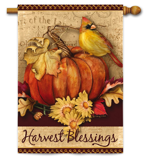"Pumpkins Harvest House Flag - 29"" x 43"" - 2 Sided Message"