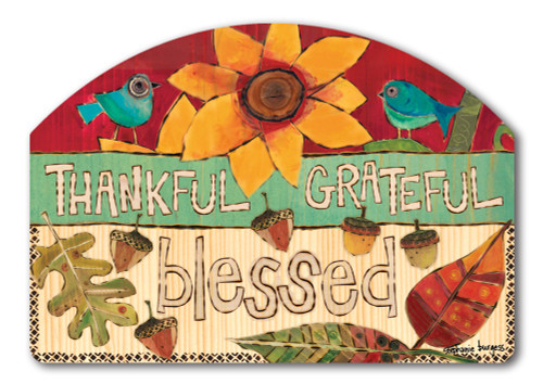 "Grateful, Thankful Yard DeSign Yard Sign - 14"" x 10"""