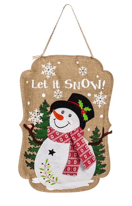 "Sparkle Snowman Lighted Burlap Evergreen Door Decor - Battery Operated - 13"" x 19"""