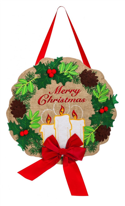 """Candle Light Burlap Lighted Evergreen Door Decor - Battery Operated - 13"""" x 19"""""""