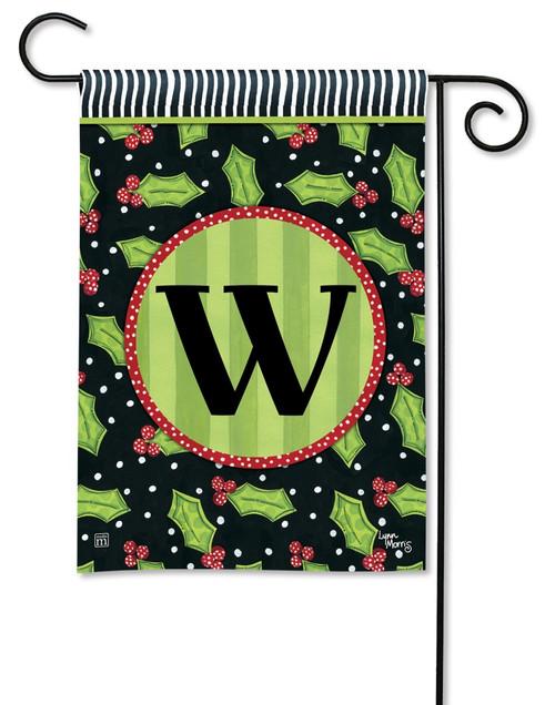 """Holly Leaves Monogram Garden Flag Letter W - 12.5"""" x 18"""""""