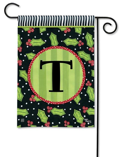 """Holly Leaves Monogram Garden Flag Letter T - 12.5"""" x 18"""""""