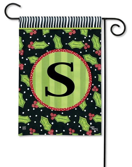 """Holly Leaves Monogram Garden Flag Letter S - 12.5"""" x 18"""""""