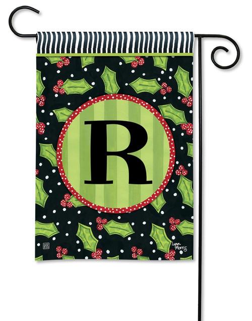 """Holly Leaves Monogram Garden Flag Letter R - 12.5"""" x 18"""""""