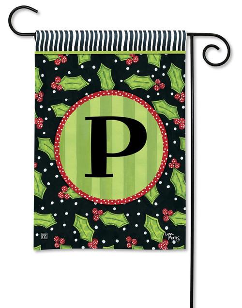 """Holly Leaves Monogram Garden Flag Letter P - 12.5"""" x 18"""""""